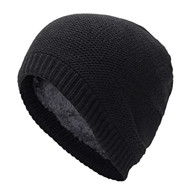 37bf4597364346 Unisex Thick Cable Knit Beanie Hat Winter Cap Skull Wool Fleece Lining Windproof  for Men &