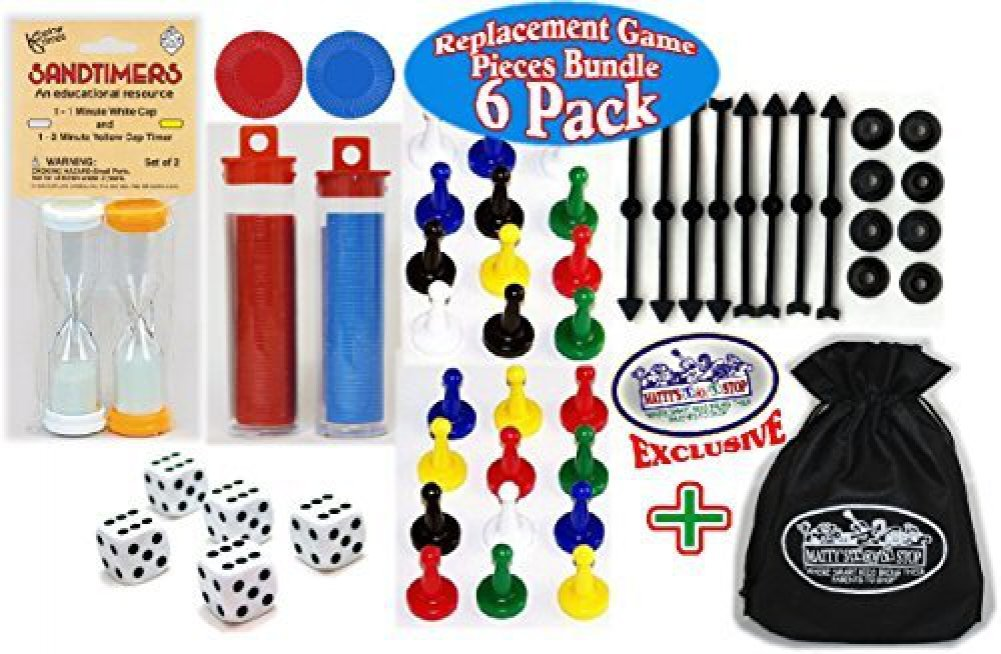 6 Pack Koplow Games Universal Game Pieces Replacement Set with Exclusive Mattys Toy Stop Cinch Storage Bag