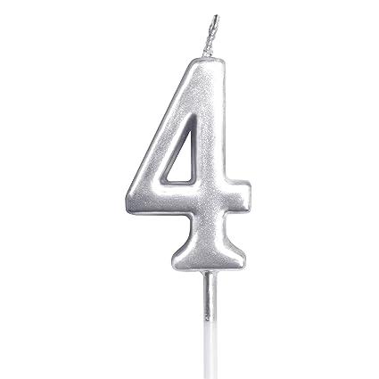 Dobmit – Número de vela de cumpleaños, color plateado ...