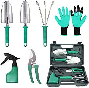 PARANNIC Gardening Tool Set - 7 PCS Heavy Duty Stainless Steel Gardening Tools with Garden Gloves and Organizer Tote Bag for Men Women Kids