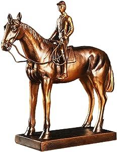 GOLDACE Sculpture Figurine, Bronze Vintage Equestrian Athlete Resin Statue American Style Art Crafts Home Office Desktop Decor Ornament Gifts,A