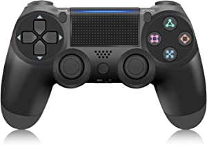 Controller for PS4, YCCTEAM Wireless Controller for Playstation 4/Pro/Slim Console, Gamepad Joystick Game Controller with Dual Vibration/6-axis Gyro Sensor/Audio Function/1000mAh (Jet Black)