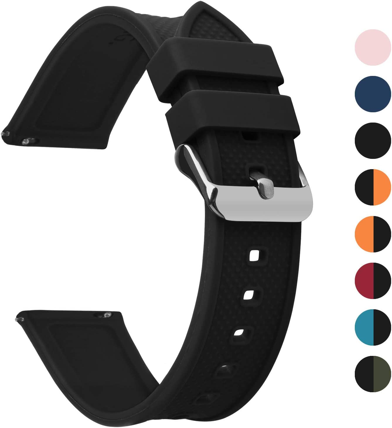 Fullmosa 8 Colores Correa de Reloj de Silicona de Liberación Rápida, Pulsera de Arco Iris de Goma Suave con Hebilla de Acero Inoxidable 18 mm 20 mm 22 mm 24 mm, Negro 20mm