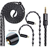 FDBRO 8-core Earphone Upgrade Cable CD Texture Plug Replacement Cable Detachable Ear-Hook Type OFC Silver Plated Earphone Cable for UM3X ES3 ES5 W4R ZS5 ZS6 ZS10 ZST ZSR (0.78mm 2PIN, Black+2.5mm)