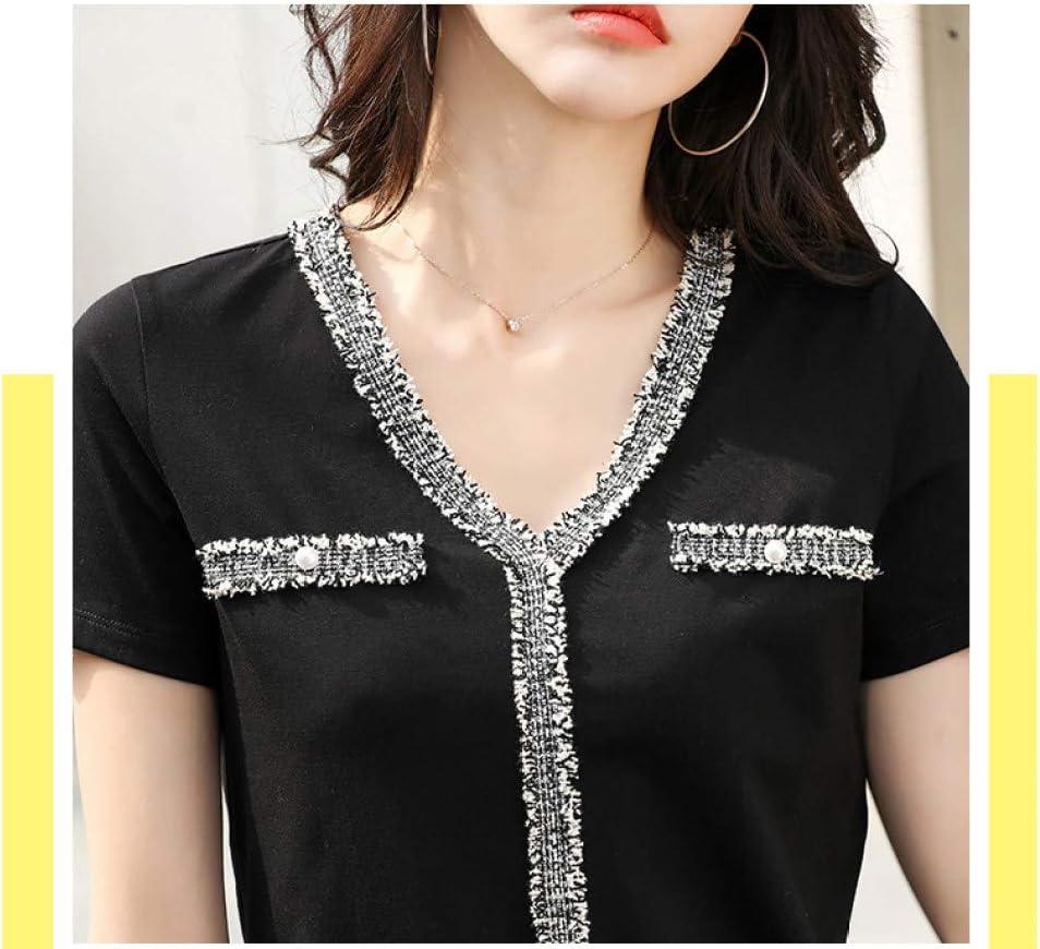 BOLIXIN - Maglietta a Maniche Corte, con Scollo a V, Colore Nero, Maglietta da Patchwork con Perline Bianche da Donna, 2020 Nero