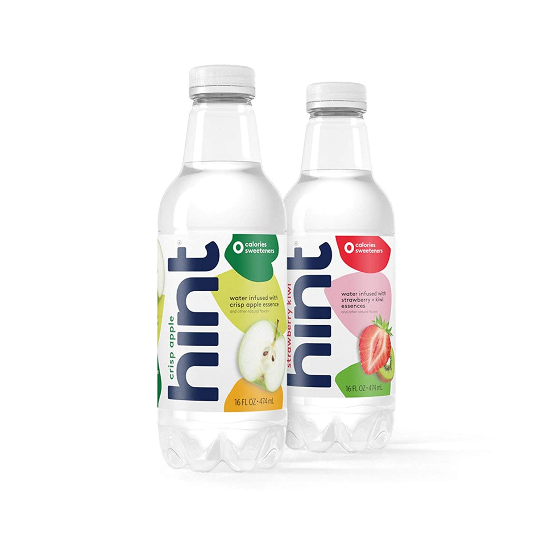 16 oz Hint Water Crisp Apple & Strawberry Kiwi Bundle (24 Pack) - 12 Pack Pure Water Infused with Crisp Apple and 12 pack Hint Water Strawberry Kiwi