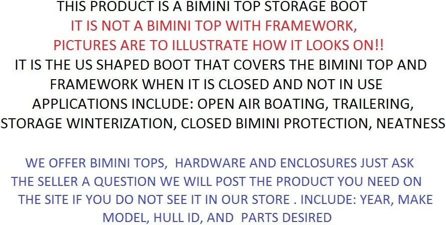 PONTOON DECK BOAT Bimini Top STORAGE BOOT 9/' Wide Sunbrella Colors w//LITE Cutout