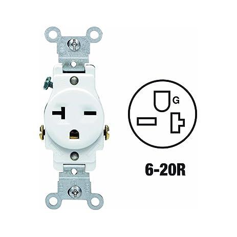 Leviton 107-05821-WSP 20-Amp 250-Volt Single Receptacle Electrical ...