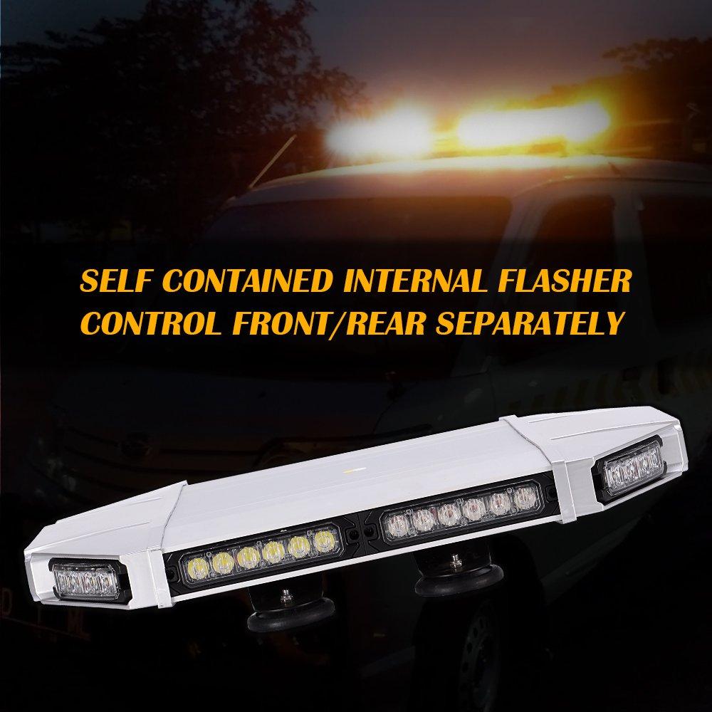 63 INCH LED STROBE LIGHT BAR EMERGENCY BEACON FLASHING TRUCK WRECKER AMBER/&WHITE