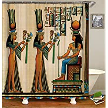 Hersent Ancient Egyptian Art Shower Curtains Mildew Resistant Waterroof Anti-Bacterial Polyester Fabric Shower Curtain Non Toxic Eco-Friendly No Odor with Free Hooks HYC08-US # Tribal Girl -1