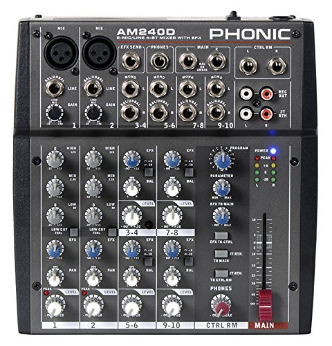 PHONIC AM 240 D mixer audio 10 canali con effetti per studio, live, karaoke AM240D