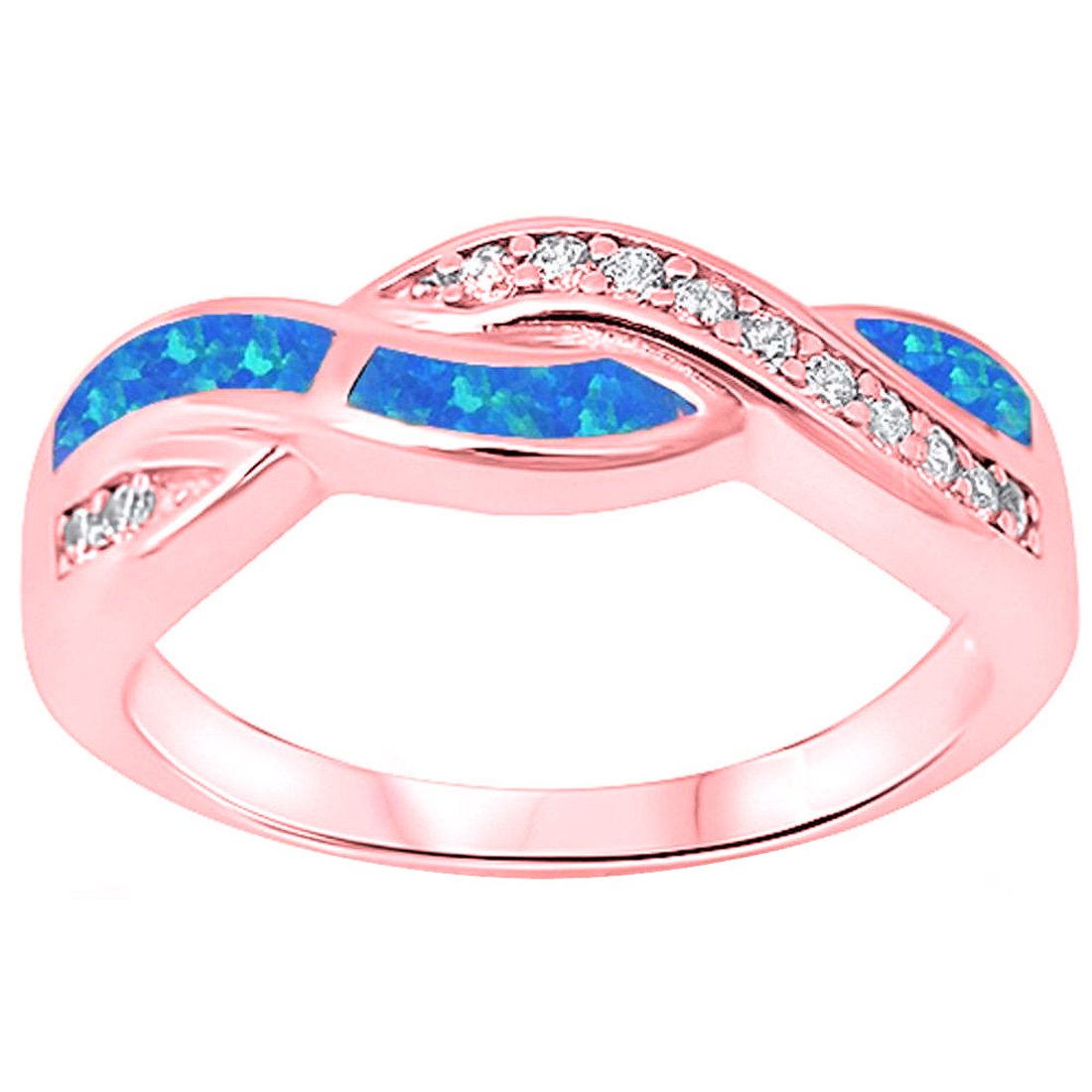 Amazon.com: Blue Apple Co. Twisted Crisscross Infinity Ring Lab ...