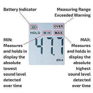 Digital Decibel Meter | Sound Level Tester | Noise dB Loudness Reader | Momenturn (Color: Yellow)