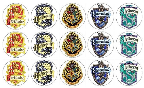 15 Harry Potter Hogwarts School & House Crests Edible Cookie and Brownie Toppers Decorated Baby Shower Cookies