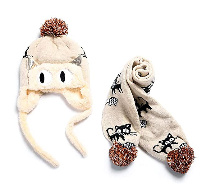 5fe60036a246fb Baby Knitted Warm Hat Girls Boys Pilot Cap Lined Plush Lovely Cat Pattern Scarf  Hat Set