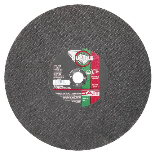 United Abrasives- SAIT 23453 Type 1 14-Inch x 1/8-Inch x 1-Inch 5400 Max RPM Ductile Portable Saw Cut-Off Wheel, 10-Pack ()