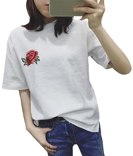 Minetom Verano Blusa Ocasional Manga Corta Color Sólido Suelto Tops Cuello Redondo Moda Bordado Rosa Flores