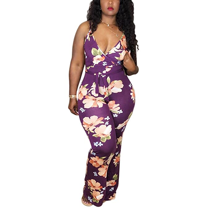 426eef38f7 Kmbangi Fashion Women s Striped Sleeveless Jumpsuit High Waist Backless  V-Neck Playsuit Romper Plus Size