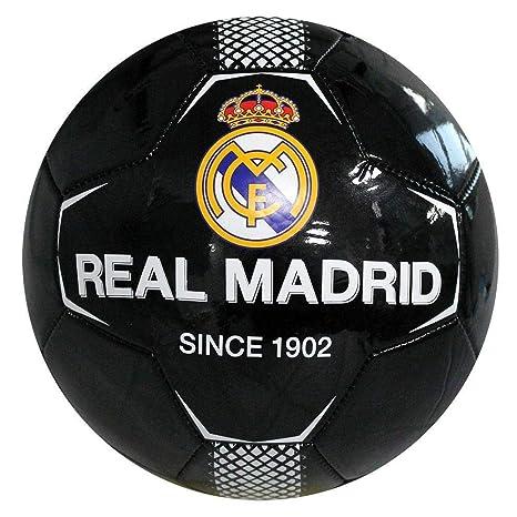 Real Madrid - Balón de fútbol (26 Paneles, tamaño 5), Color Negro