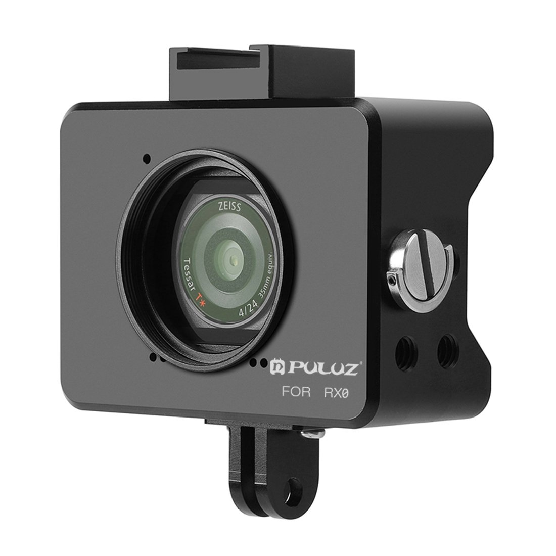 PULUZ for Sony RX0 Housing Shell case CNC Aluminum Alloy Protective Cage with 37mm UV Lens & Base Mount & Screw(Black)