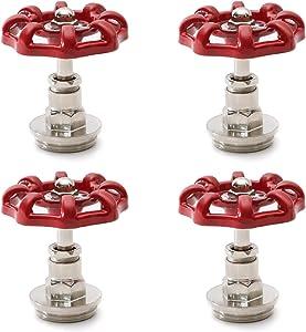 Red Industrial Pipe Plug Handwheel, Retro Antique Decorative Pipe Fittings for Steam-punk Vintage Shelf Bracket DIY Plumbing Pipe Decor Furniture (4, 3/4