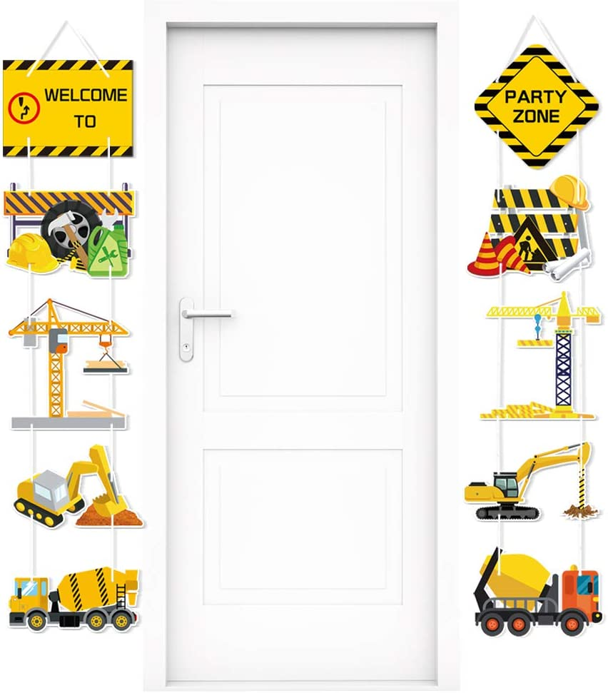 Construction Party Supplies Door Signs Banner – Truck Dump Excavator Crane Theme Birthday Decorations for Boys Kids Baby Shower – Welcome Door Celebration Props Indoor Outdoor Wall Décor (10 Counts)