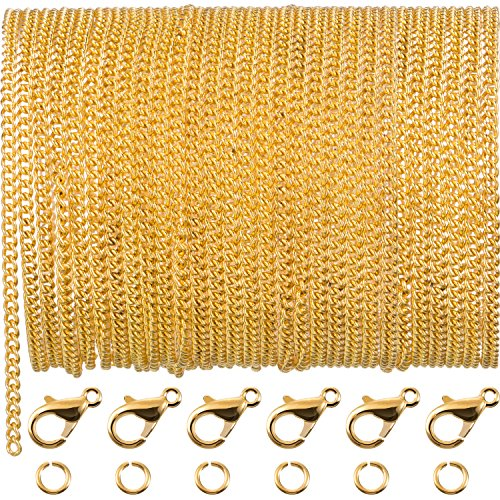 TecUnite 33 Feet Gold Plated Link Chain Necklace with 30 Jump Rings and 20 Lobster Clasps for Men Women Jewelry Chain DIY Making (2.5 mm)