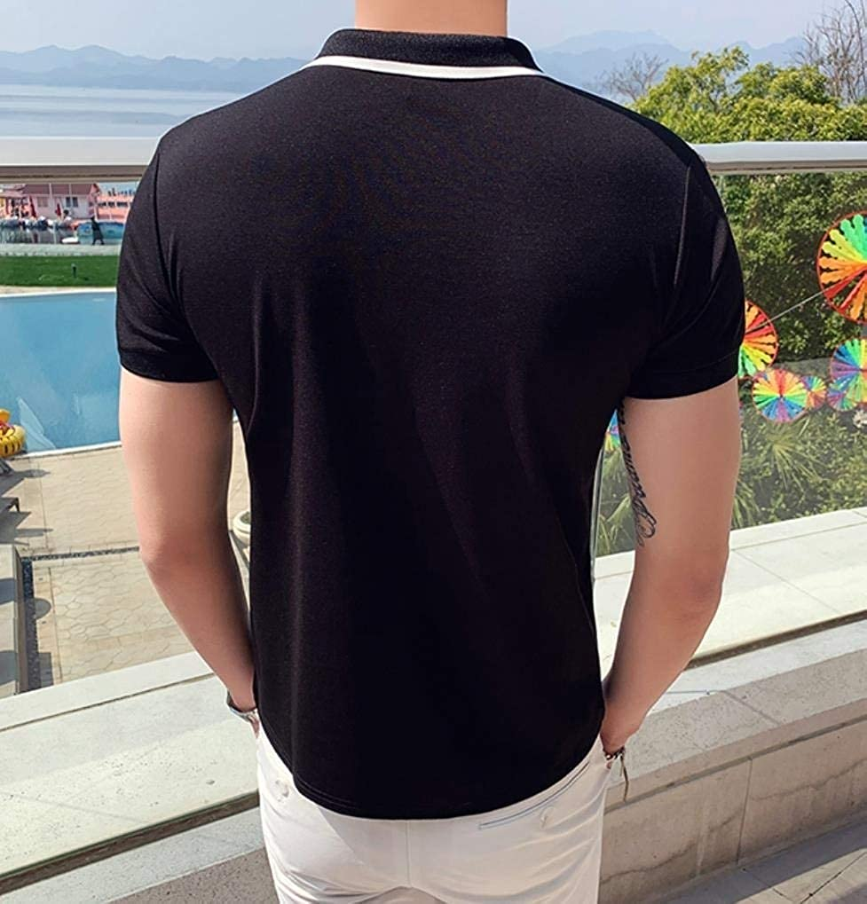 HEFASDM Mens Skinny Summer Polo-Collar Contrast Blouse Tunic Shirt
