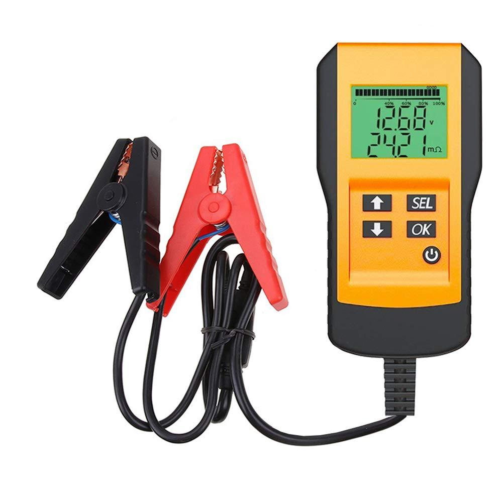 Digital 12V Car Battery Tester Automotive Battery Load Tester and Analyzer of Battery Life Percentage,Voltage, Resistance and CCA Value