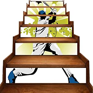 Mural Decor Pitcher Hits The Ball Fast Stars Over The Bat Speed Str Game Moti Removable Waterproof Wallpaper for Indoor Outdoor Stairs Decor, W39.3 x H7 inch