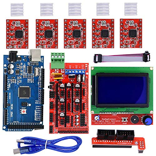 - 3D Printer Extension Board Parts,Ramps1.4/Mega2560 R3 Integrated Motherboard, A4988 Driver With Heatsink,12864 LCD Controller Board for 3D Printer(As shown)