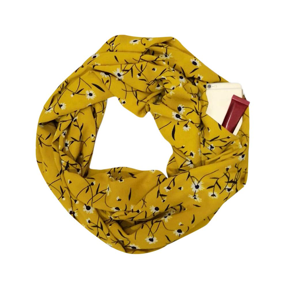 Anyren Elegant Printed Women Scarf,Fashion Winter Warm Thermal Active Infinity Scarf With Zip Pocket (B, 30×180cm)