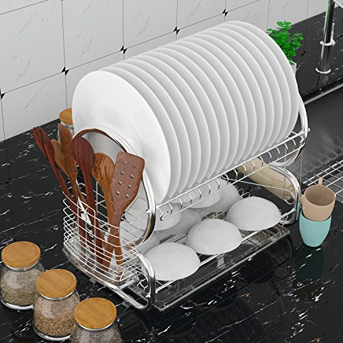 Cindere 2-Tier Dish Rack Drainer Board Set Deluxe Modern Sta