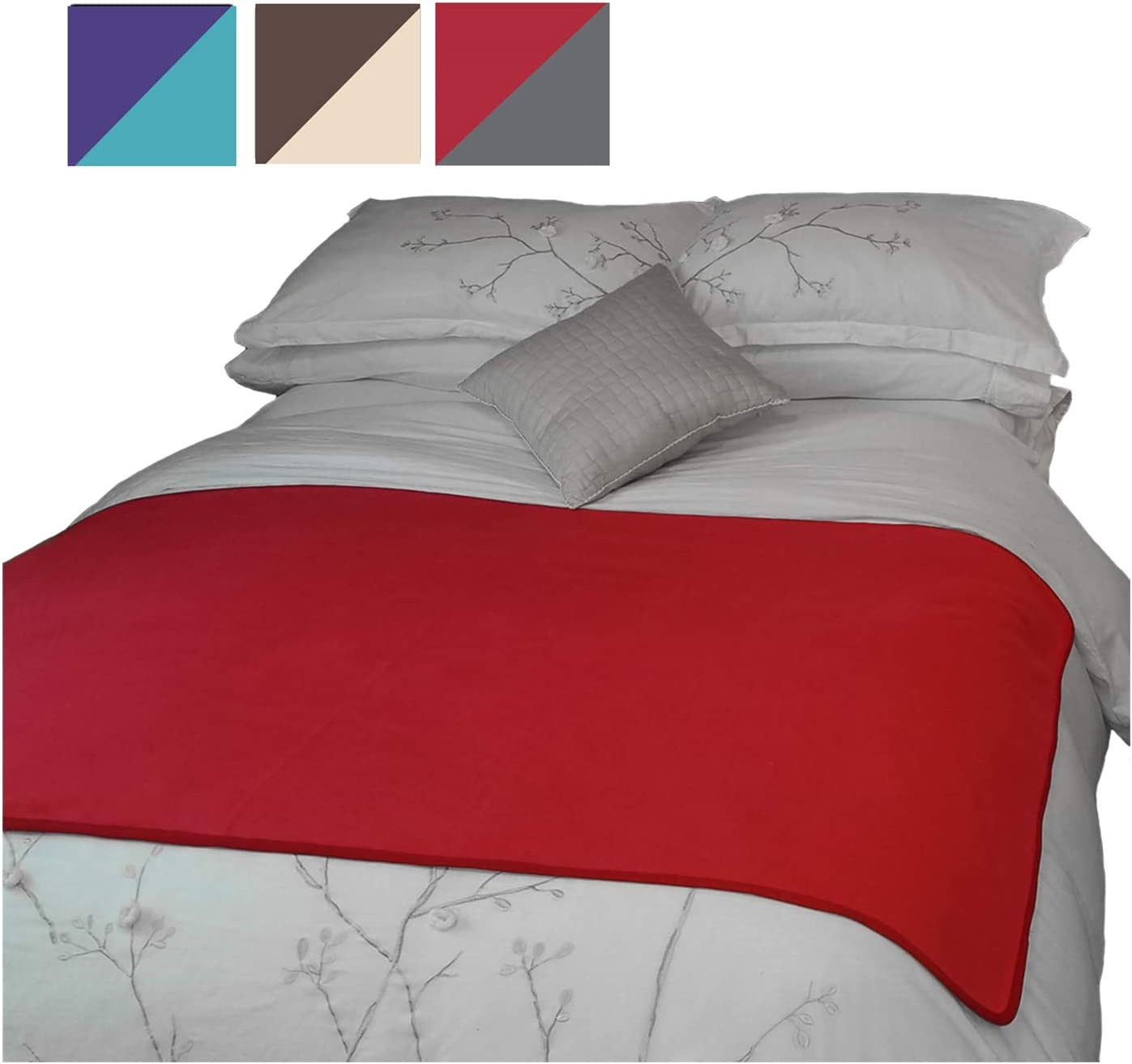 TOP Waterproof Blanket - Keeps Everything 100% Dry - No Matter How Wet It Gets! Deluxe Bed Mattress and Furniture Protector for People and Pets, Soft Fleece (Red Gray Reversible, Jumbo 80x60): Home & Kitchen