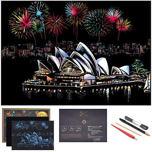 (BOTEEN Scratch Art Paper Rainbow Painting Sketch, City Series Night Scene,Scratch Painting Creative Gift,Scratchboard for Adult and Kids,with 4 Tools,Size:16''x11'' (Sydney Opera House))