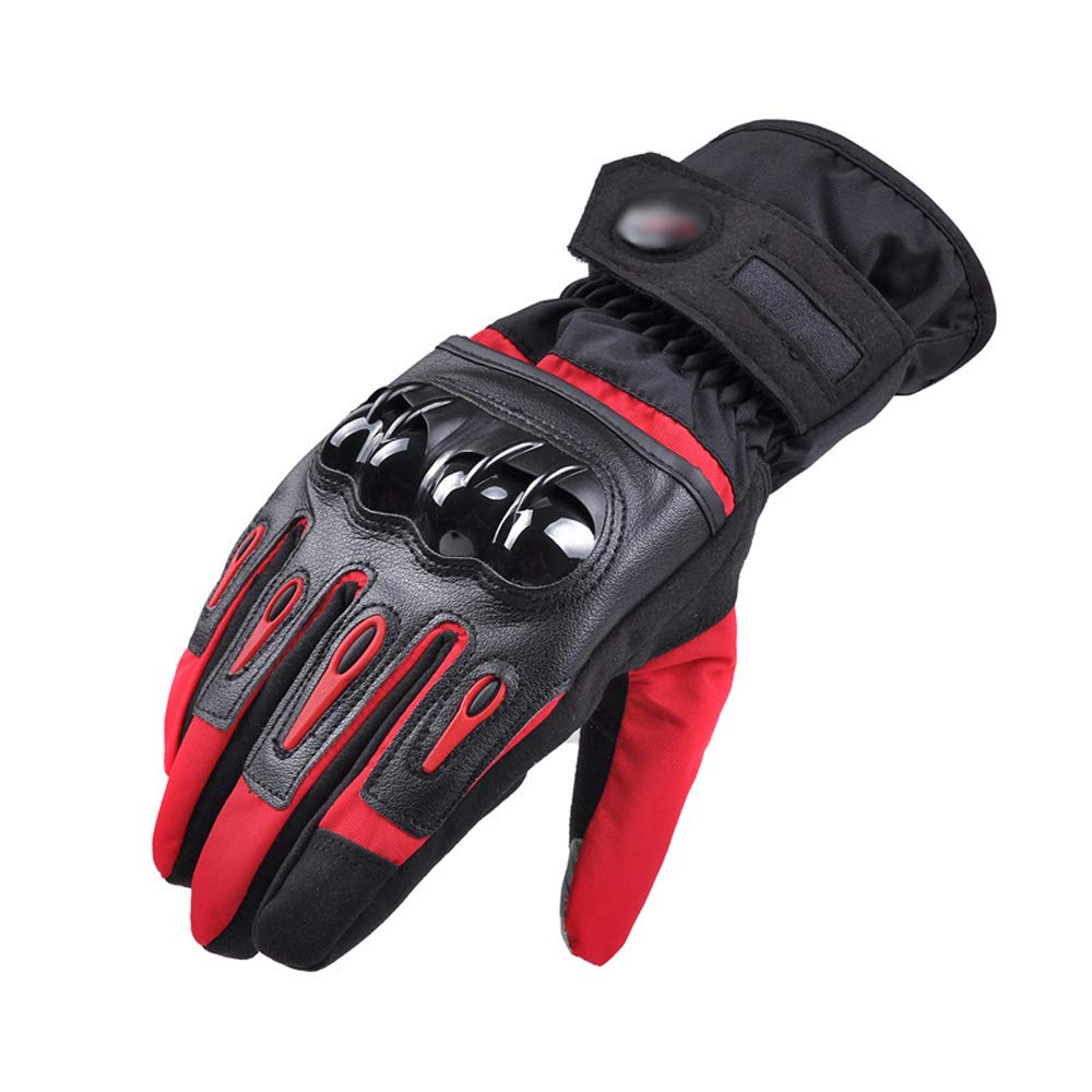 ZDYLL Men Leather Skiing Gloves Touch Screen Warm Thick Ski Gloves Outdoor Waterproof Motorcycle Riding Snow Snowboard Glove (Color : Red, Size : M) by ZDYLL