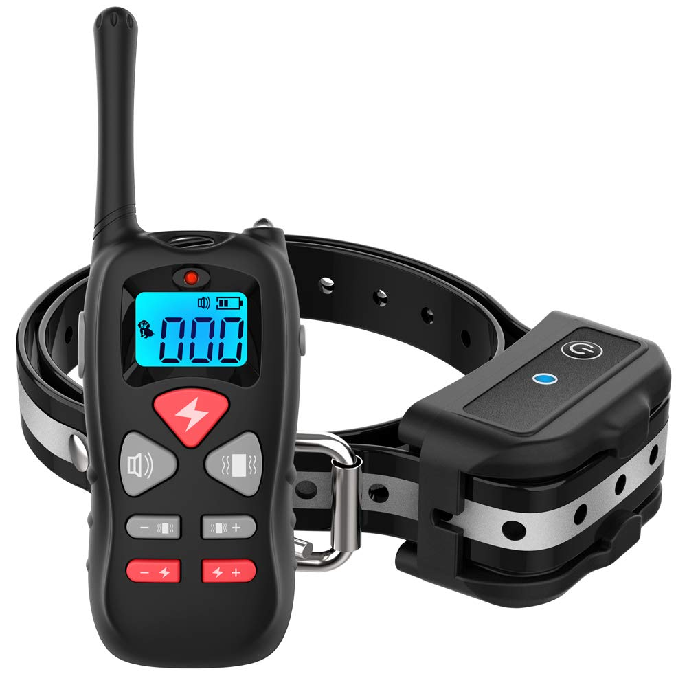 For one Dog Vanleng Dog Training Collar with Remote 1800ft [Reflective Strap] Waterproof Rechargeable Beep Vibration Electric Shock Modes for Small Medium Large Dogs (for one Dog)
