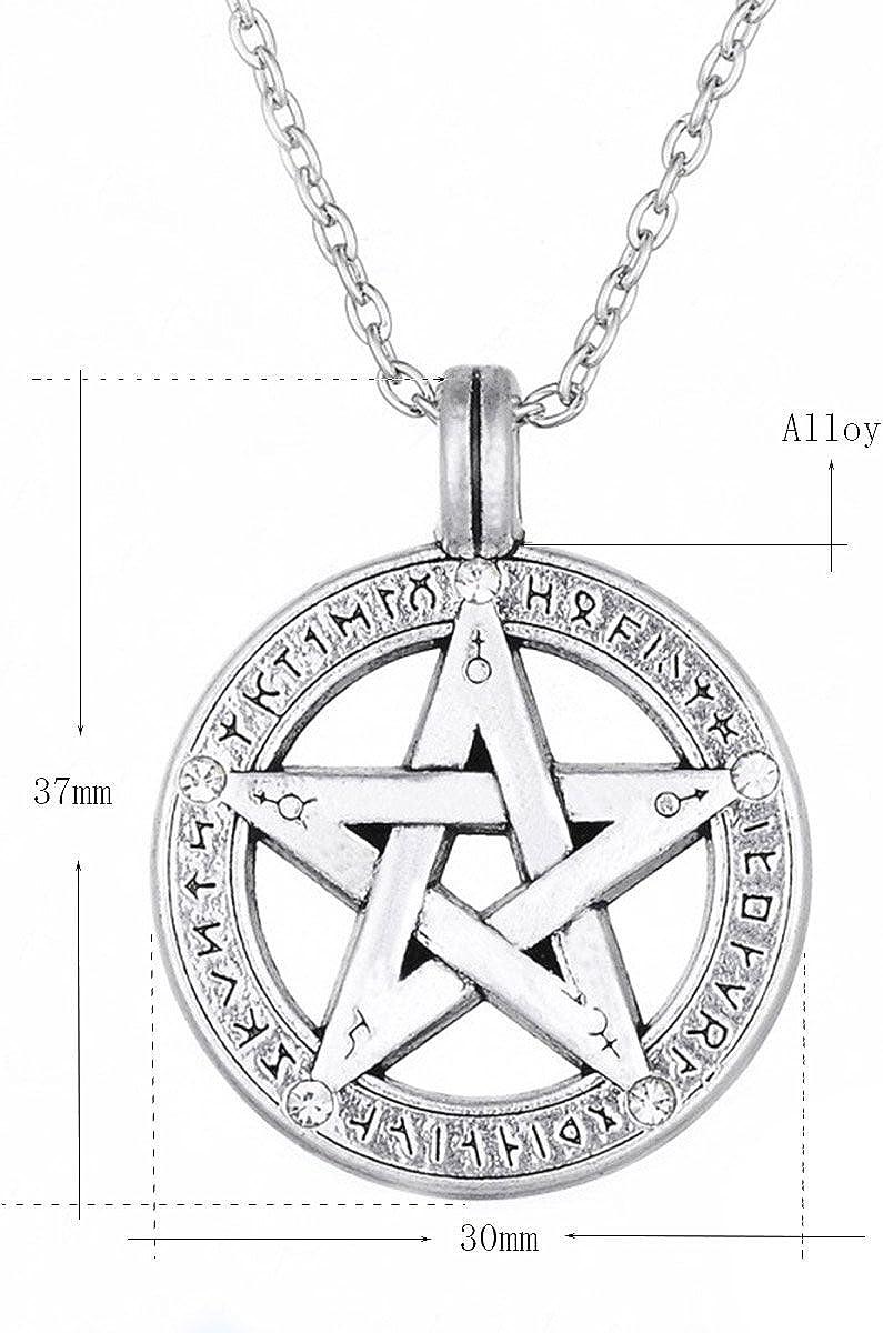 Jewelry HitHopKing Silver Pentagram Pentacle Necklace,Men Women Stainless Steel Pendant Necklace,Elegant Pentagram Charm Pendant,Vintage Pentagram of Solomon Pendant