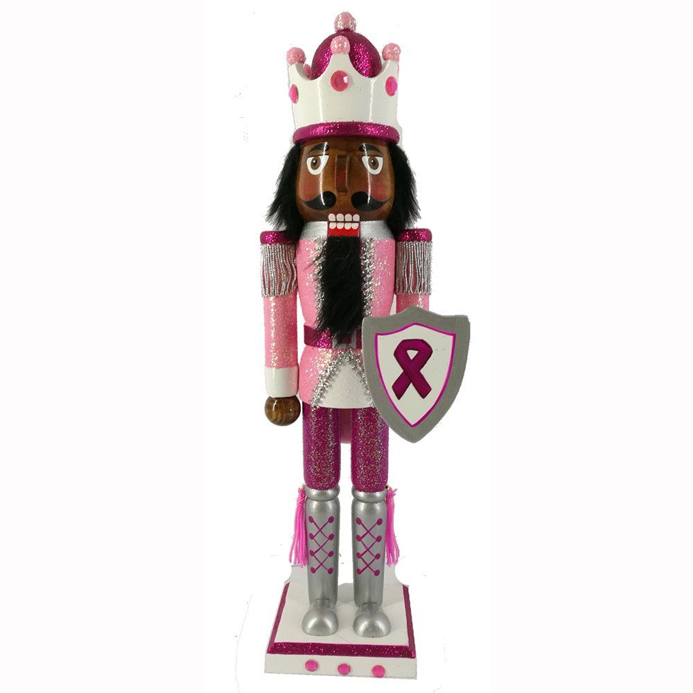 Christmas Holiday Wooden Ethnic Nutcracker Figure Soldier King with Pink Breast Cancer Support Uniform with Sparkle, Glitter, and Rhinestone Details, Large, 15 Inch