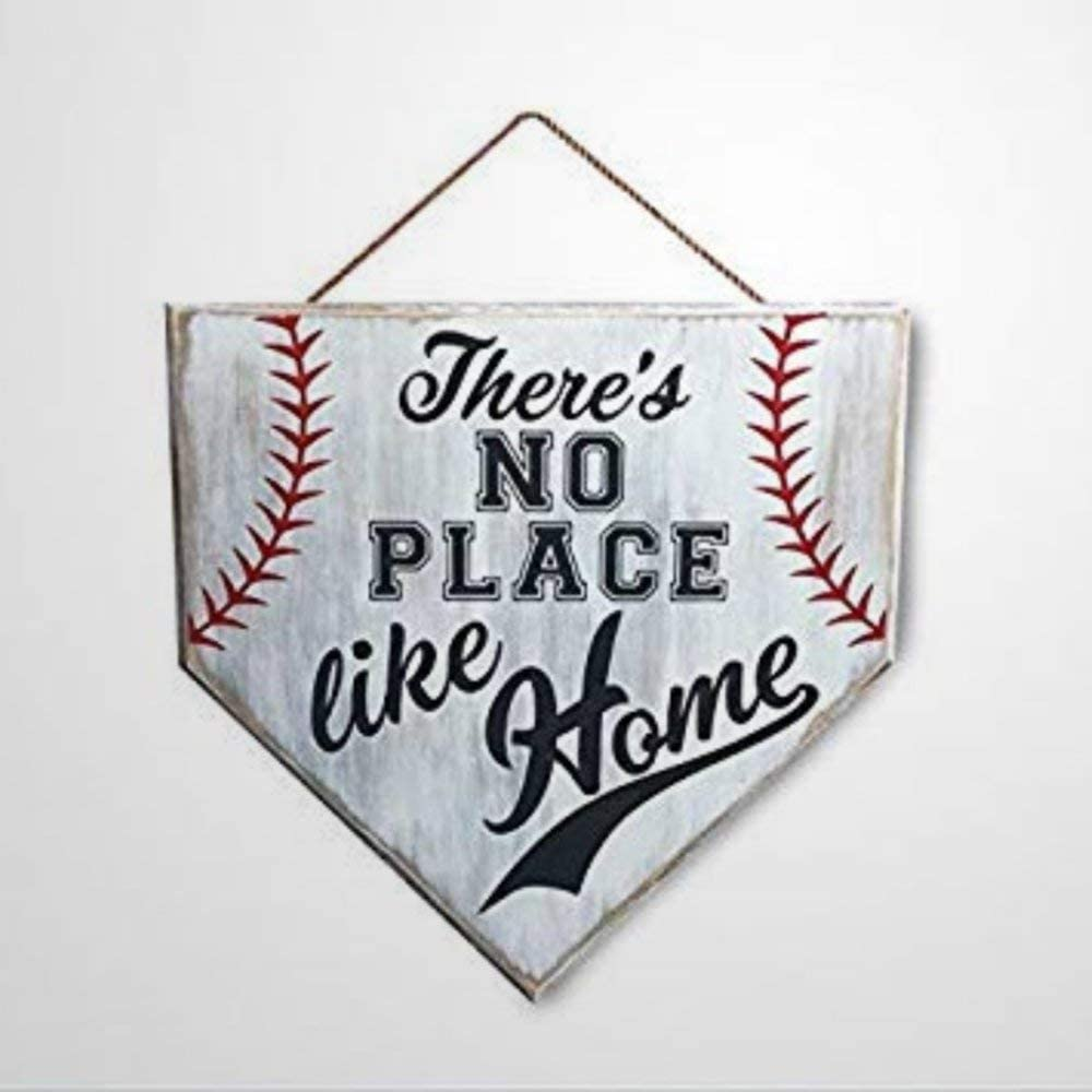 BYRON HOYLE No Place Like Home Baseball Sign Home Plate Coach Present Rustic Baseball Mom Softball Mom Present Funny Wooden Sign Wood Plaque Wall Art Wall Hanger Home Decor
