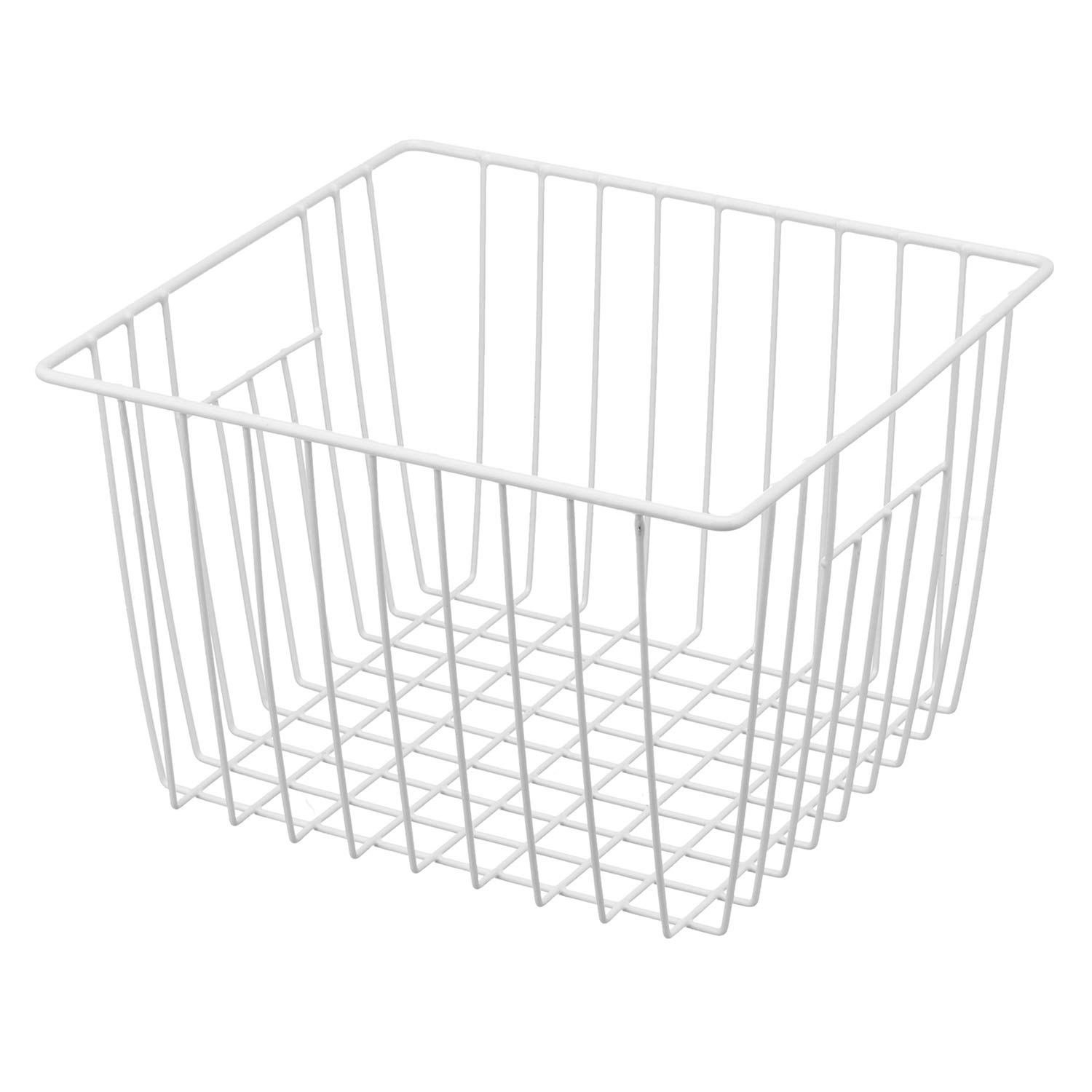 iPEGTOP Deep Refrigerator Freezer Baskets, Large Household Wire Storage Basket Bins Organizer with Handles for Kitchen, Pantry, Freezer, Cabinet, Closets, Pearl White