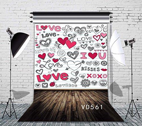 LB 5x7ft Valentine's Day Vinyl Photography Backdrop Customized Symbol of Love Photo Background Studio Props VD561