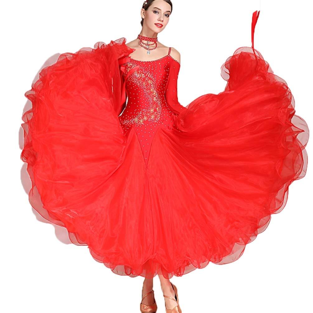 Wangmei Ballsaal Tanz-Outfit Damen Wettbewerb Kleider Walzer Modernes Kostüm Tüll Kristalle Strasssteine Netzhüllen Große Schaukel Mehr Farbe B07K47Z9YL Bekleidung Einfach