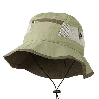 d851c016fe9d9 Big Size Zipper Talson UV Bucket Hat - Khaki (for Big Head) at ...