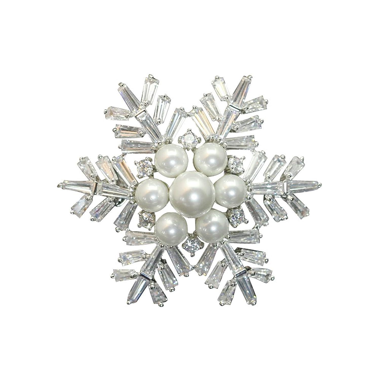 Silver Pearl Crystal Snowflake Pin