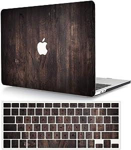 AJYX MacBook Pro 15 inch Case Bundle (Model: A1398, 2015 - end 2012 Release), Plastic Hard Shell Cover & Keyboard Cover for Older Version MacBook Pro Retina 15 inch - Wood Grain