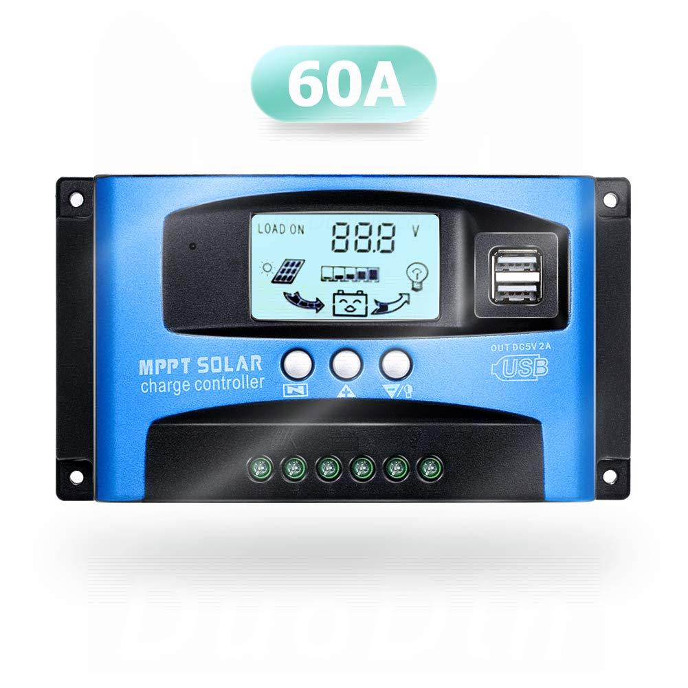 SolaMr 60A Regulador de Carga Solar 12V/24V Panel Solar Regulador de Carga de la Batería con Pantalla LCD y Doble Puerto USB - 60A