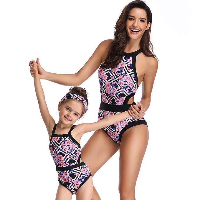 8854a66a36 QinMM 2019 bañador Floral para Mujer y 3-6 años niña, Push up Biquinis  Familia Madre e Hija Bikinis Traje de baño natación Verano: Amazon.es: Ropa  y ...