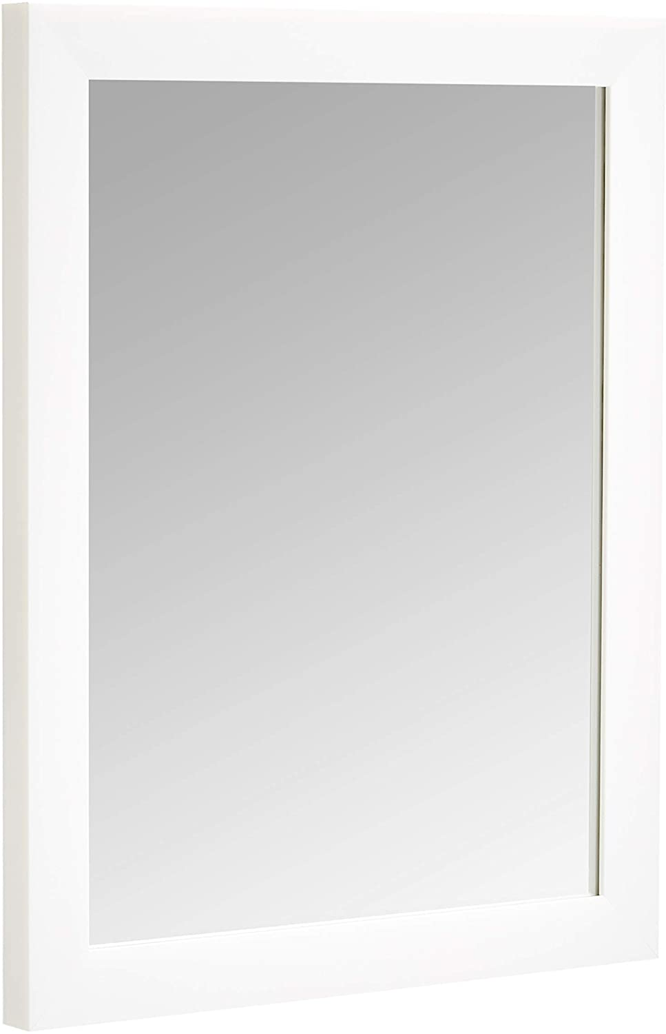 "AmazonBasics Rectangular Wall Mirror 16"" x 20"" - Standard Trim, White"