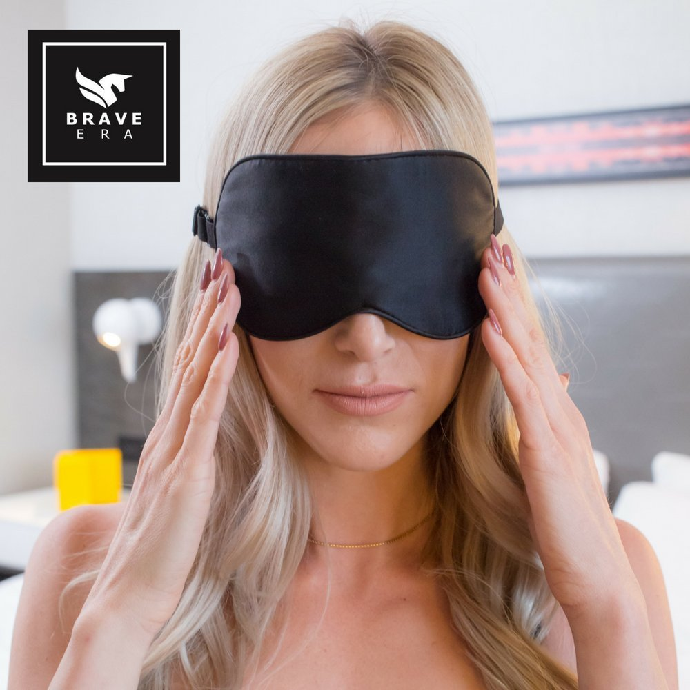 100% Silk Hypoallergenic Sleep Mask with Compact Travel Pouch and Gift Box by Brave Era (Raven Black)